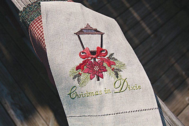 Street Lantern Embroidered Towel