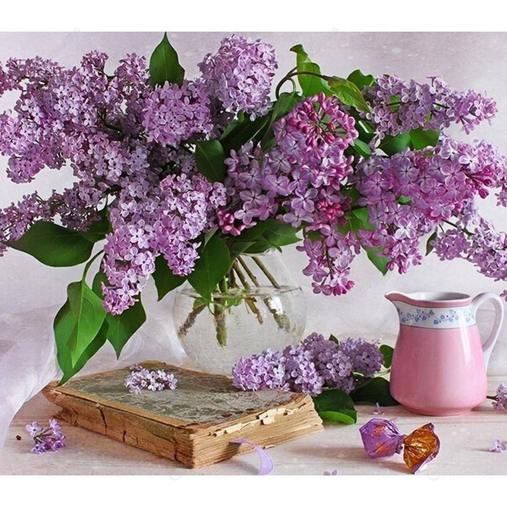 5d Diy Diamond Painting Purple Flowers Cross Stitch Embroidery Mosaic Kit In 2020 Purple Flowers Garden Purple Flowers Purple Flowers Wallpaper