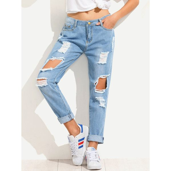Blue Distressed Boyfriend Jeans (£15) ❤ liked on Polyvore featuring jeans, blue, white ripped boyfriend jeans, white ripped jeans, distressed jeans, white boyfriend jeans and destroyed boyfriend jeans