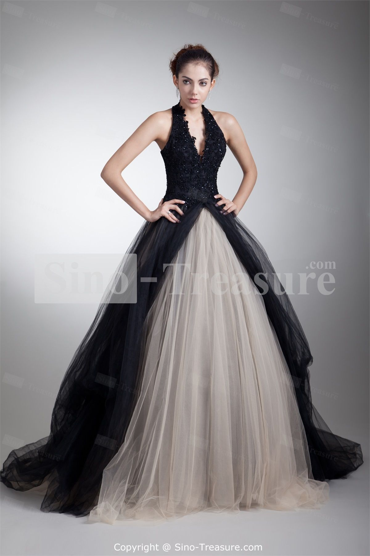 Black sleeveless satintullelace court train for a black and white ball gown halter floor length organza black prom dress with appliques ombrellifo Gallery