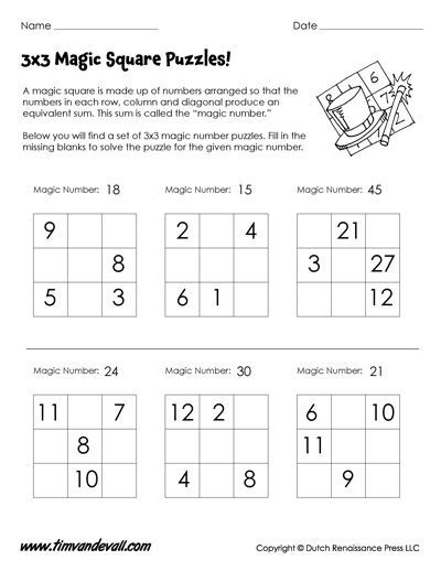 x magic square worksheet for kids  rd grade math  math math  x magic square worksheet for kids