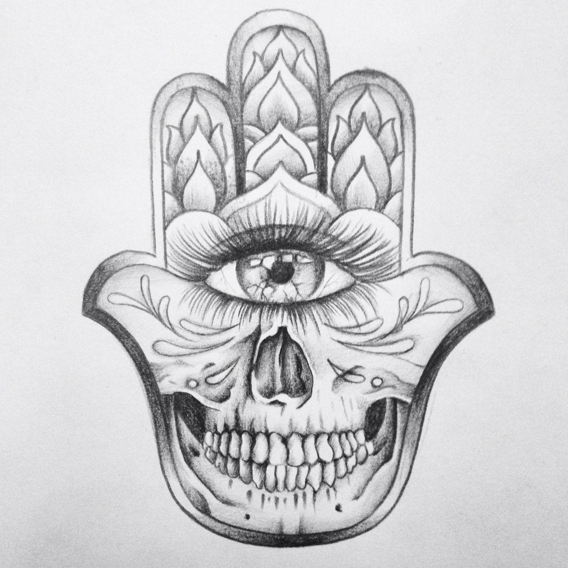 Skull hamsa hand drawing Skull drawing, Hamsa tattoo