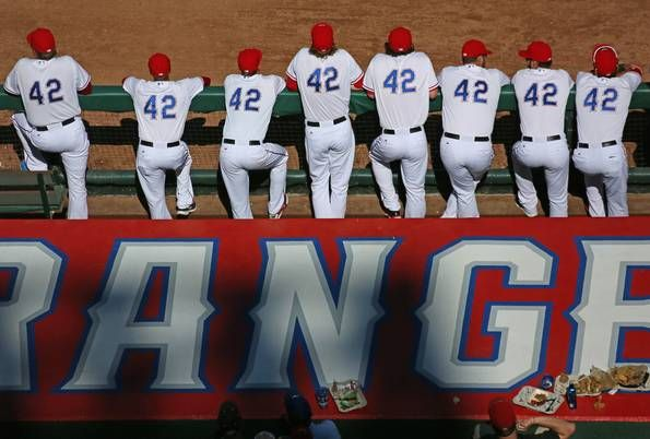 Photos Players Wear No 42 To Honor Jackie Robinson But Angels Have Rangers Number In Texas 10 2 Loss Texas Rangers Baseball Baseball Scores Texas Rangers Players