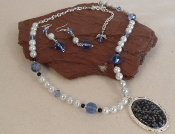 """White Pearls,23"""" Long Statement Necklace,Black Obsidian Pendant,Sapphire Beads,Silver Plated Chain,Earrings,Angel Dangle,FREE SHIPPING!! by ckdesignsforyou. Explore more products on http://ckdesignsforyou.etsy.com"""