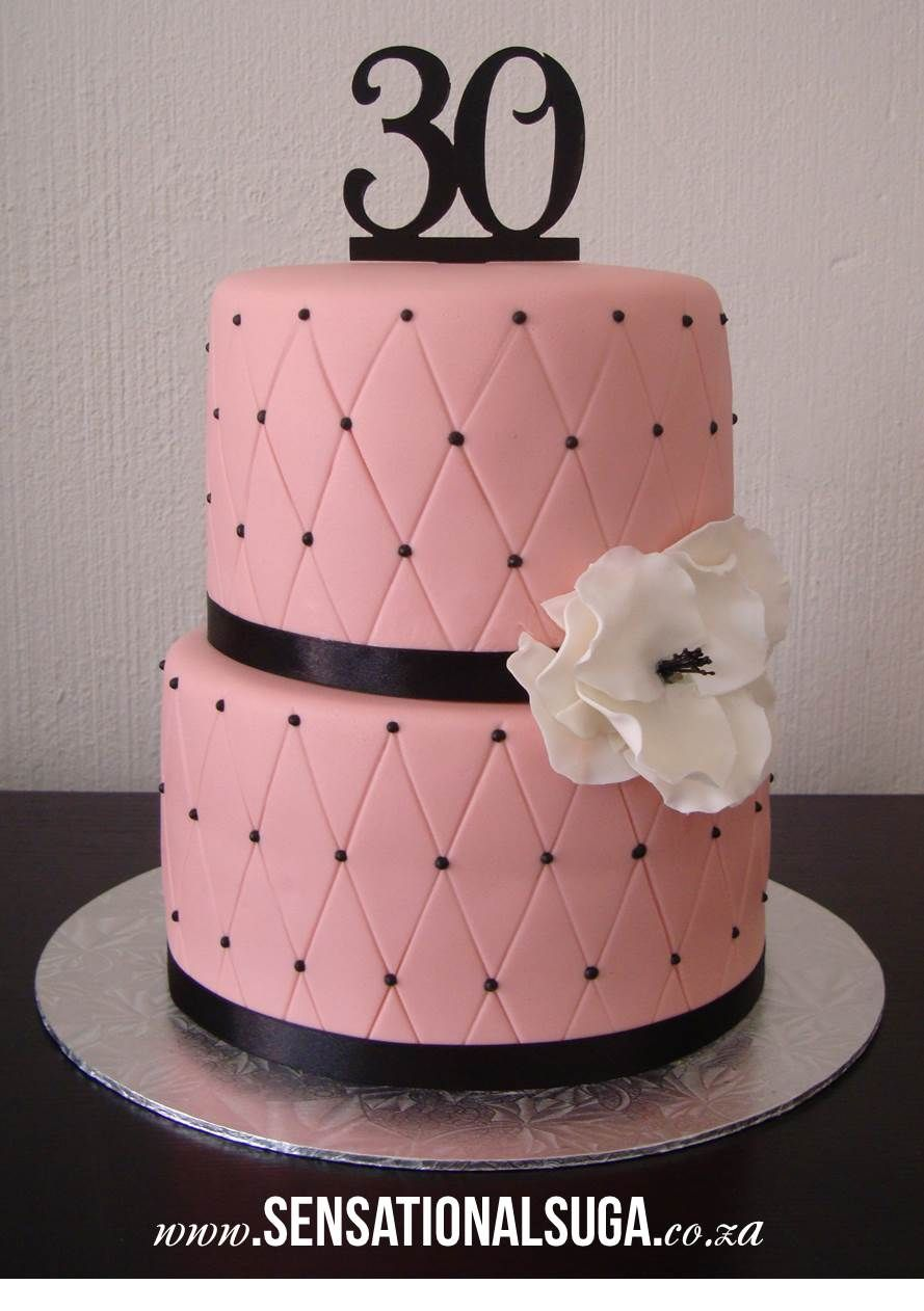 Light Pink And Black Criss Cross 30th Birthday Cake Pink