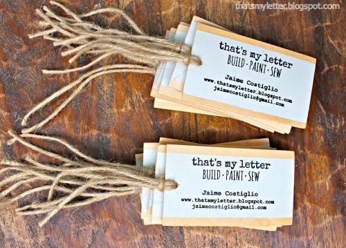 "That's My Letter: ""B"" is for Business Cards, diy stamped wood business cards"