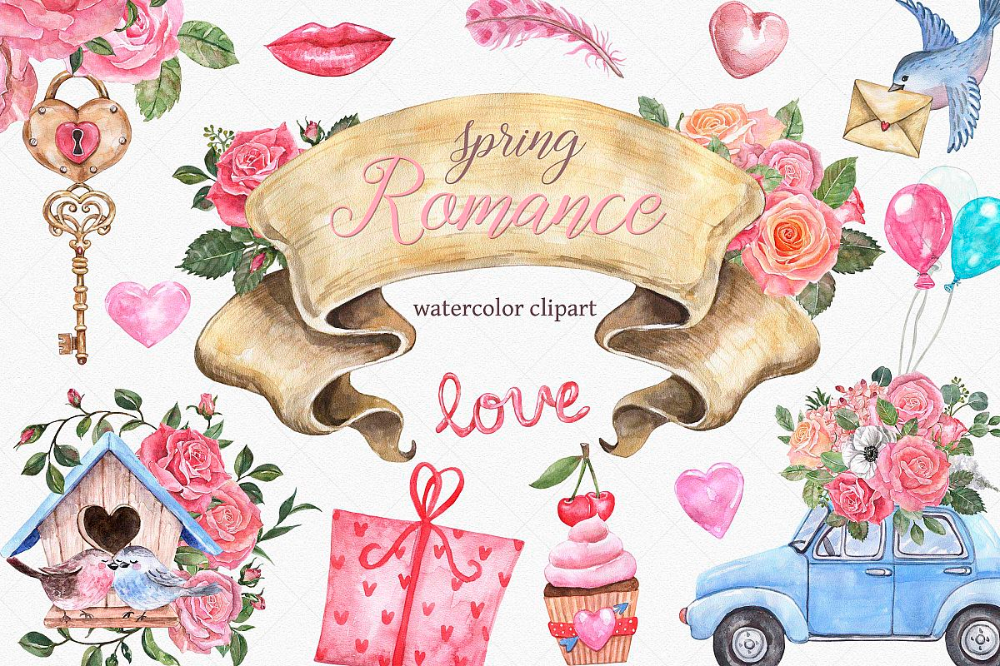 Watercolor Valentines Day Spring Wedding Roses Clipart в