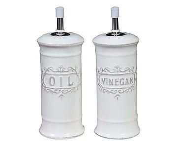 2 Distributeurs d'huile et vinaigne, blanc - H18