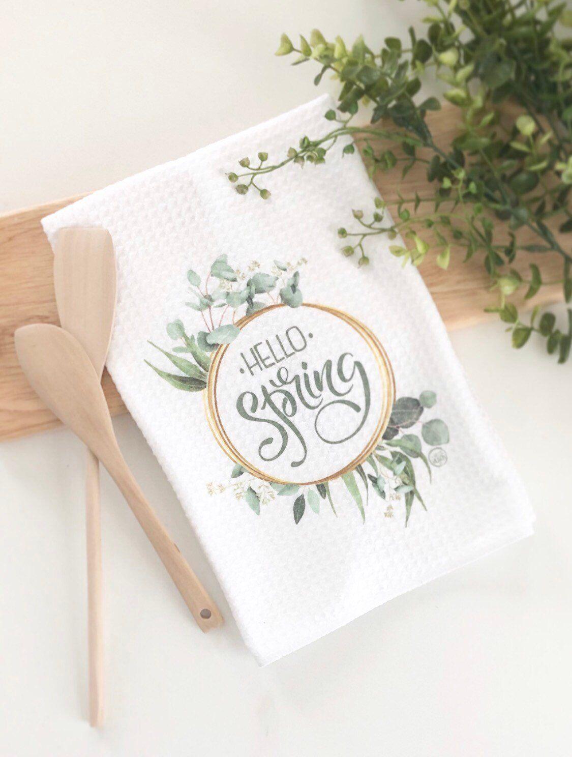 Hello Spring Tea Towel Spring Kitchen Decor Watercolor Tea Towel