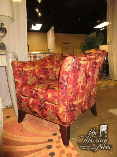 Pleasant Floral Print Accent Chair In Red And Orange On Dark Legs Inzonedesignstudio Interior Chair Design Inzonedesignstudiocom