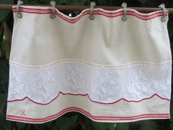 French Vintage Linen Cafe Curtain, Farmhouse Kitchen Valance