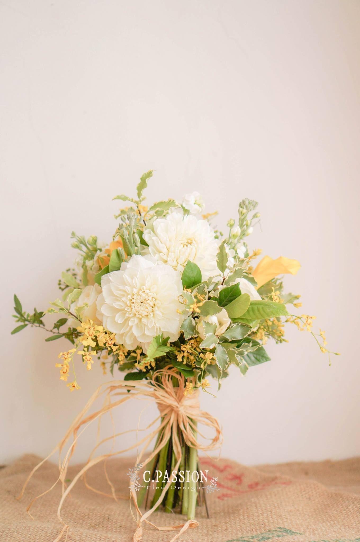 White L Yellow Green Bridal Bouquet