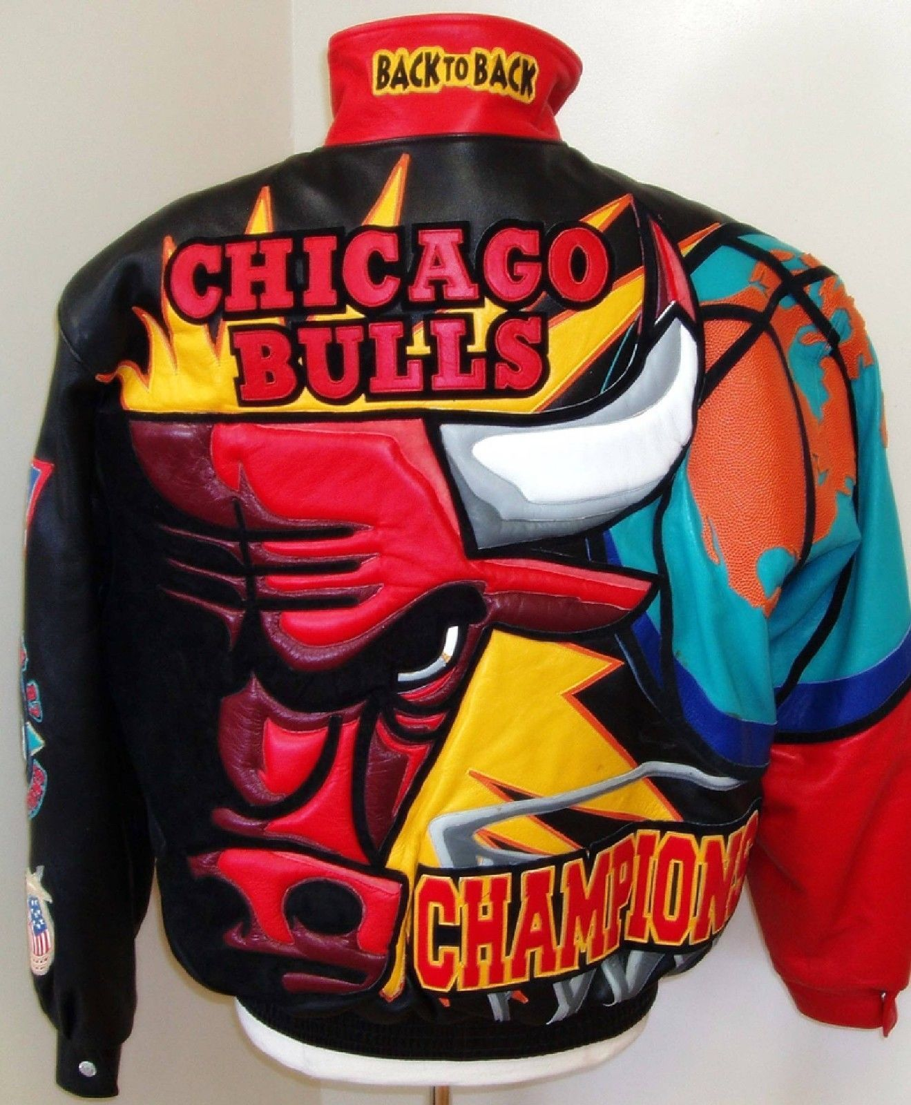 Large Products Hot Sale j.h. Jeff Hamilton Vintage Chicago Bulls Nba Jordan Era Leather Jacket