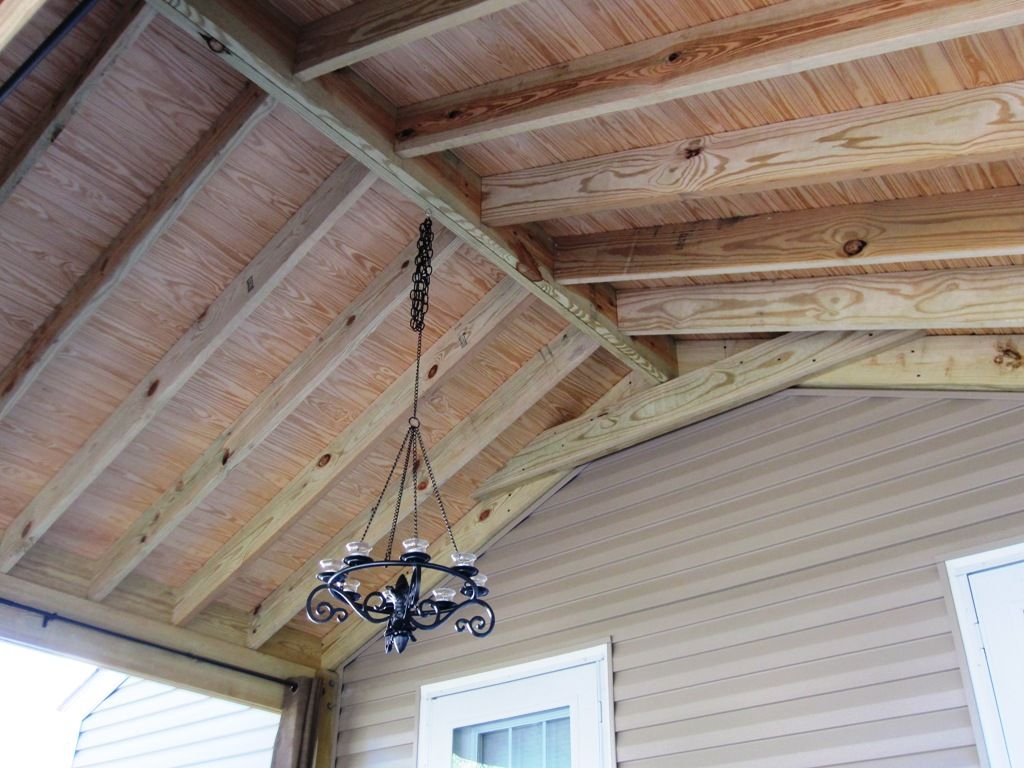 Open beam porch ceiling columbus decks porches and for Rafter beam