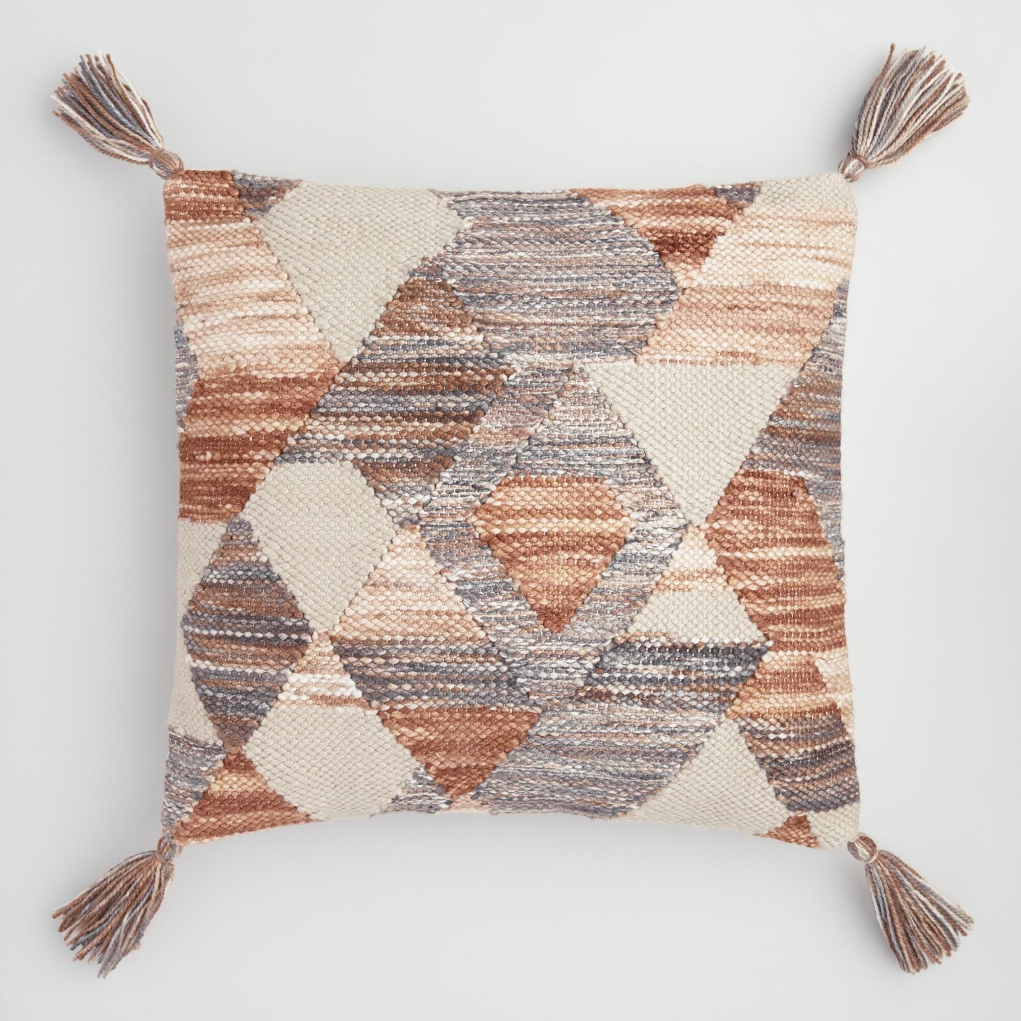 Geometric Desert Woven Indoor Outdoor Patio Throw Pillow Brown