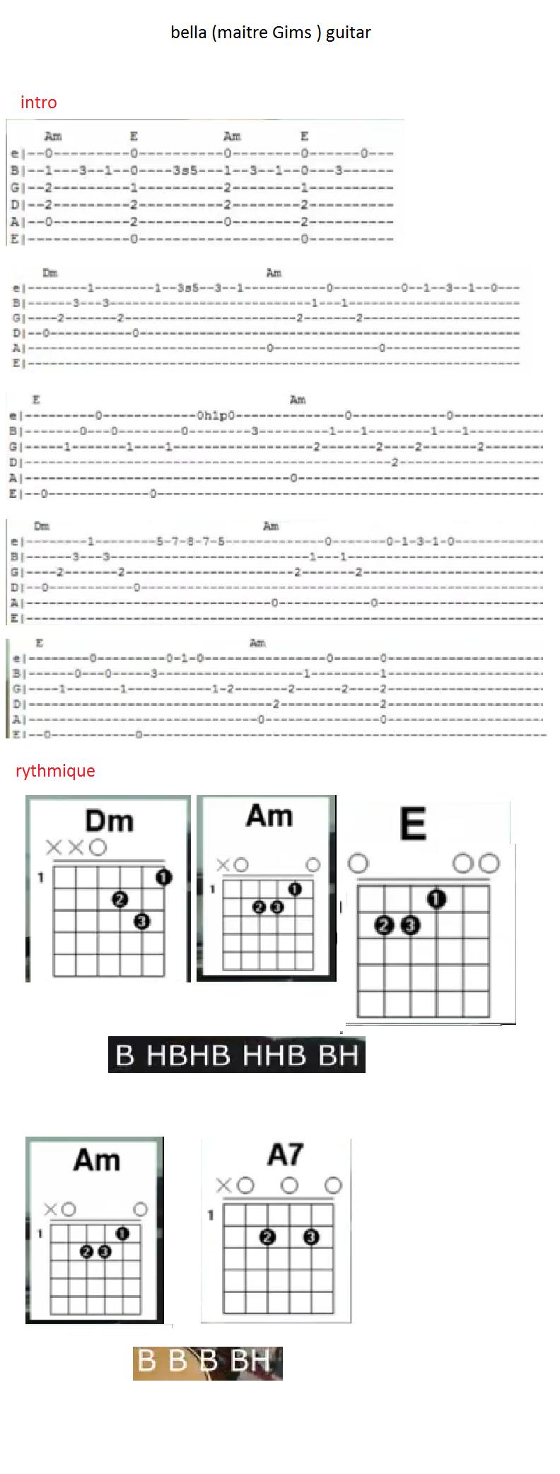partition guitare de bella maitre gims