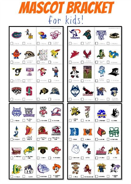 Kid Friendly Mascot Bracket For 2017 March Madness Fun Ideas For