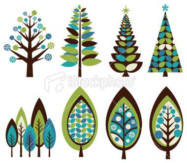 Winter Christmas Tree Christmas Holiday Star Shape Leaf Pattern Design Isolated Isolated On White Vector Clip A Retro Christmas Tree Tree Art Tree Illustration