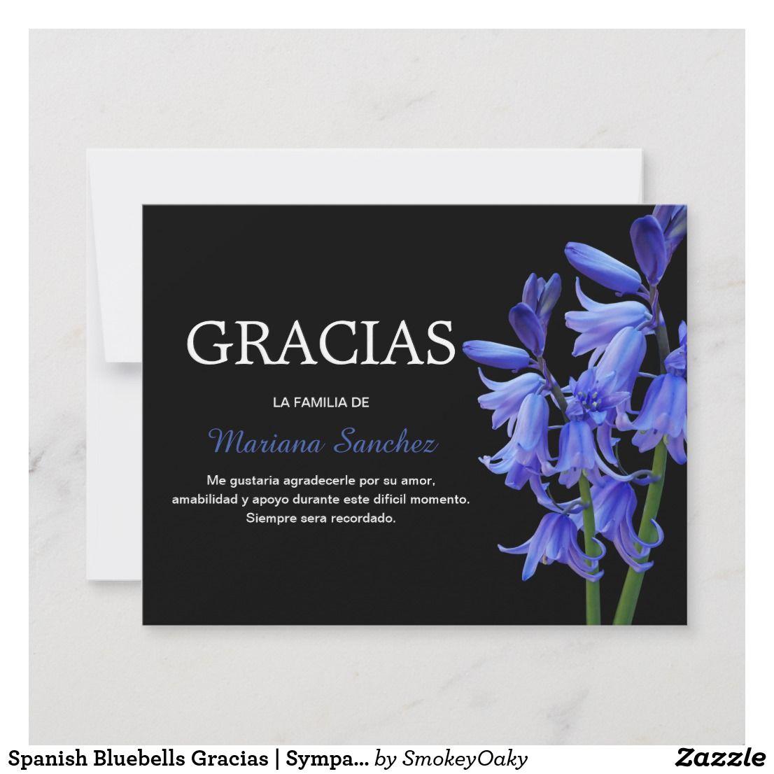 spanish bluebells gracias  sympathy thank you  zazzle