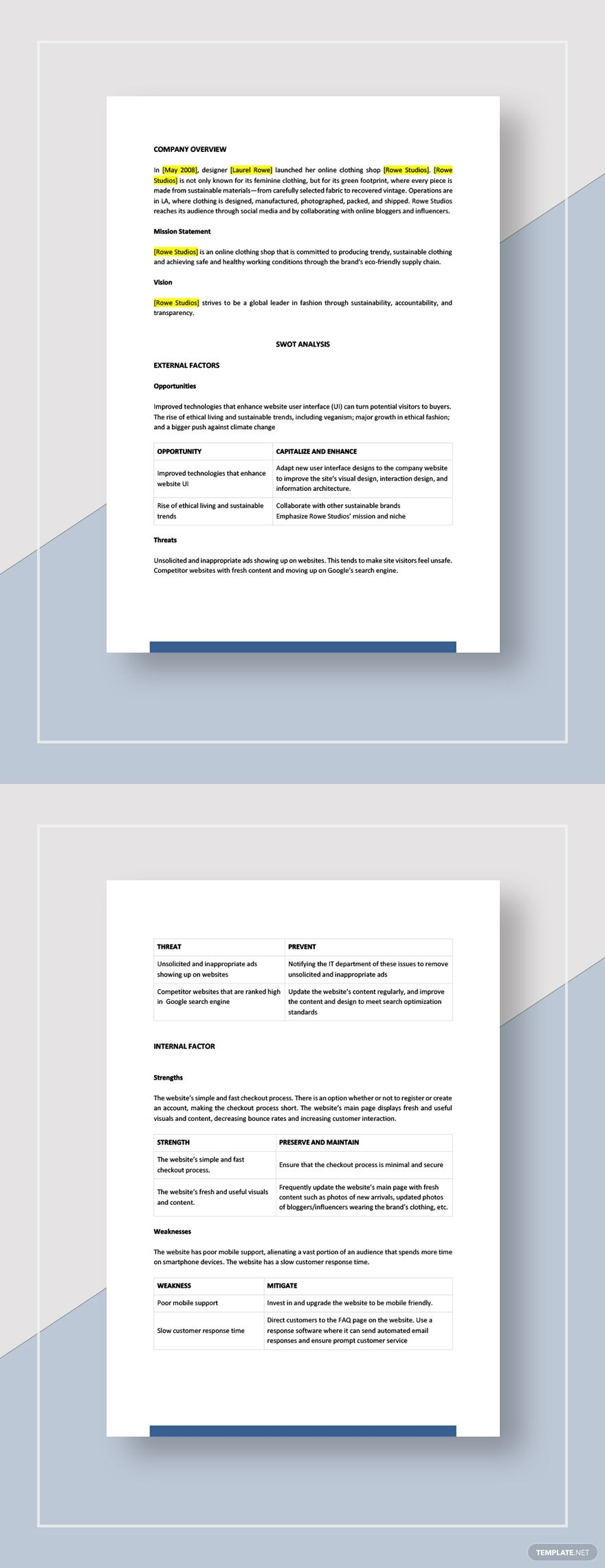 Website swot analysis template Word (DOC) Apple (MAC
