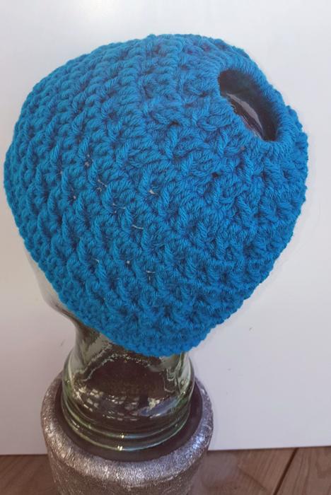 Crochet Frenzy Bun Hat by Laura Jean Bartholomew | Messy Bun Hats ...