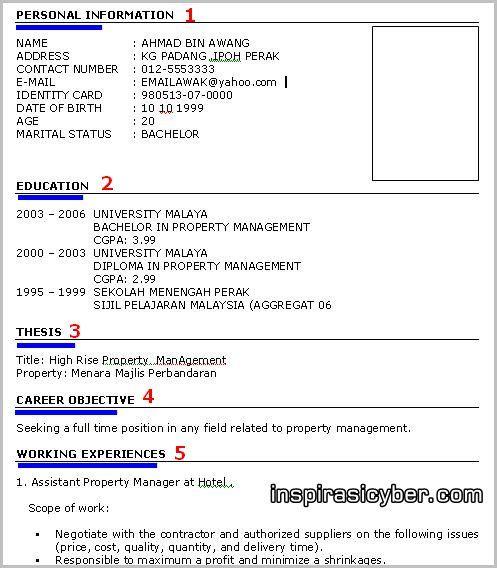 Koleksi Contoh Resume Lengkap Terbaik Dan Terkini Contoh Resume Terbaik Dan Tips Temuduga Terkini Cv Kreatif Riwayat Hidup Inggris