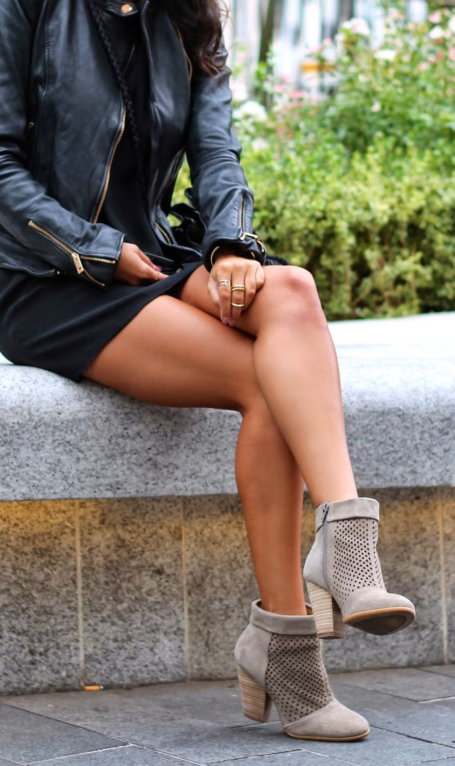 1ba1ee1ade2 black LBD x leather jacket x booties   perfect fall date night look dress  boots brown fall summer. Ashley Torres is wearing ...