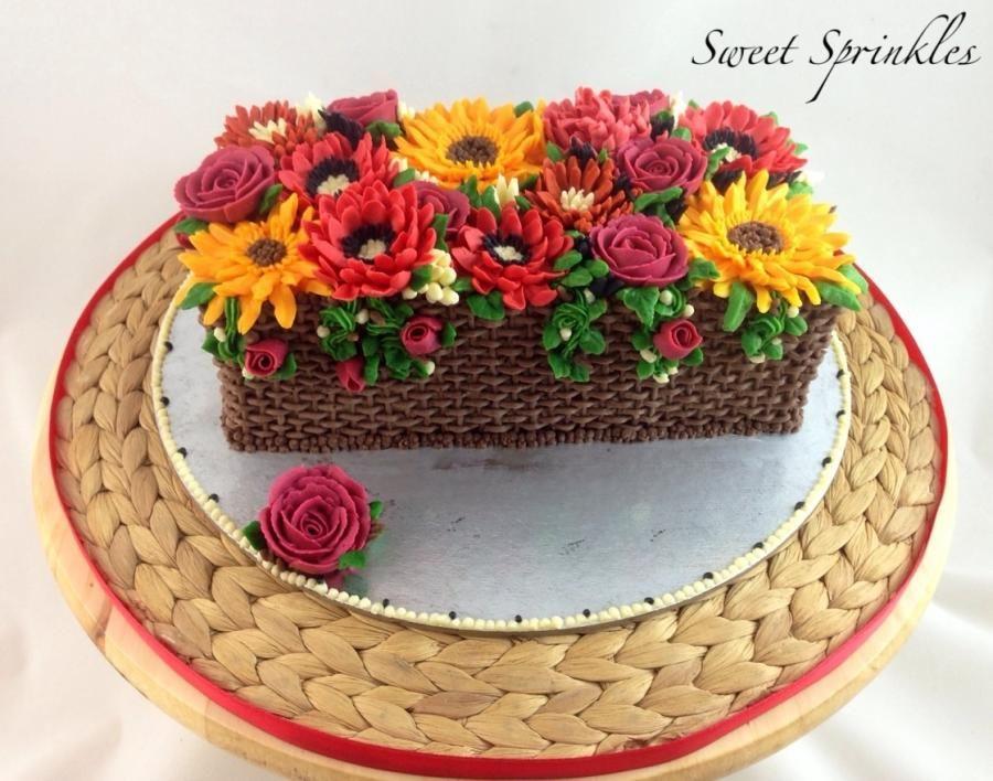 Basket Of Flowers Cake By Deepa Pathmanathan 100 Buttercream