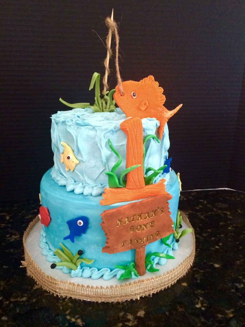 Gone Fishing Themed Happy Birthday Cake 1 Year Old Fish