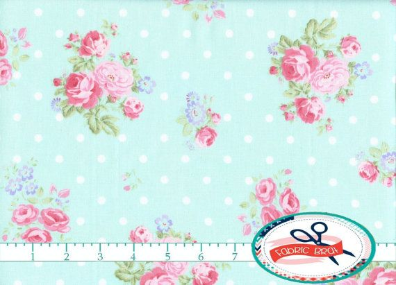 SHABBY ROSE DOT Fabric By The Yard Fat Quarter Floral Pink Aqua Peony