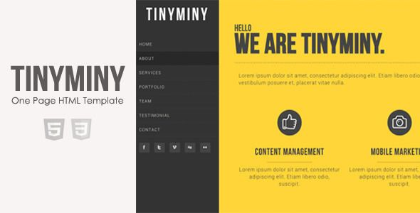 Tinyminy One Page Responsive Html Template Themeforest Web