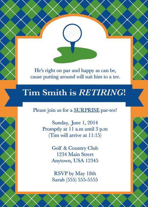 Golf Party, Golf Invite, Menu0027s Retirement Party, Party for Him - fresh birthday invitation jokes