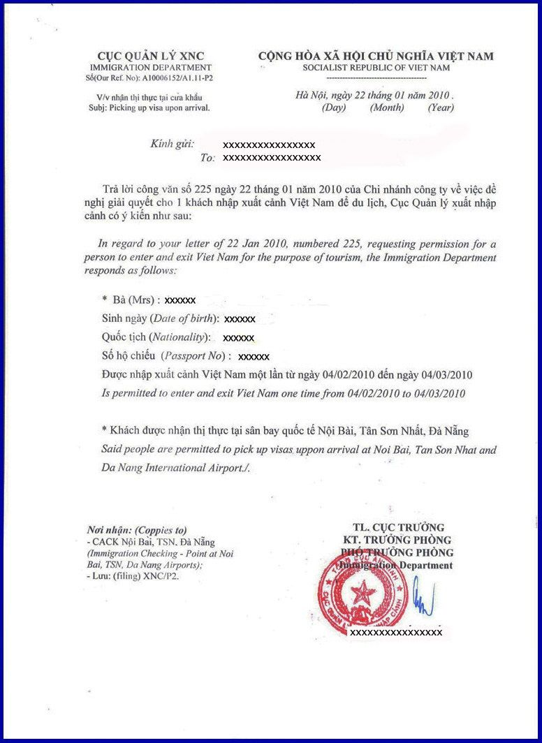Vietnam Visa On Arrival Approval Letter For New Zealand Passport