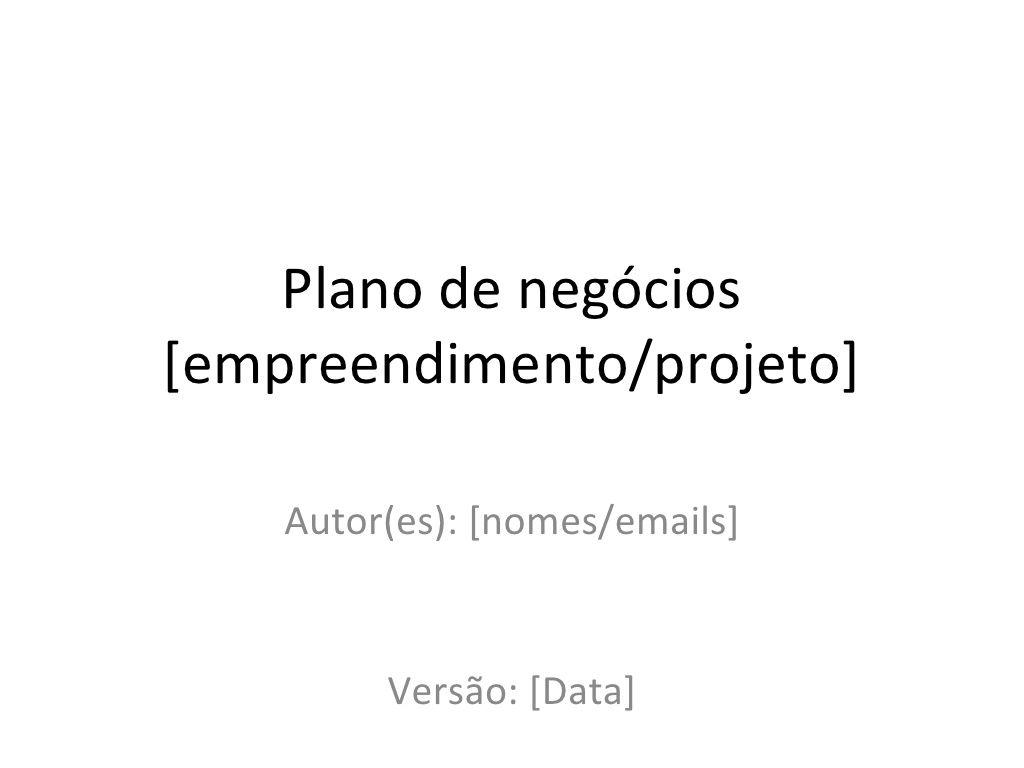 Modelo Para Planos De Negócios By Alexandre Ribenboim Via