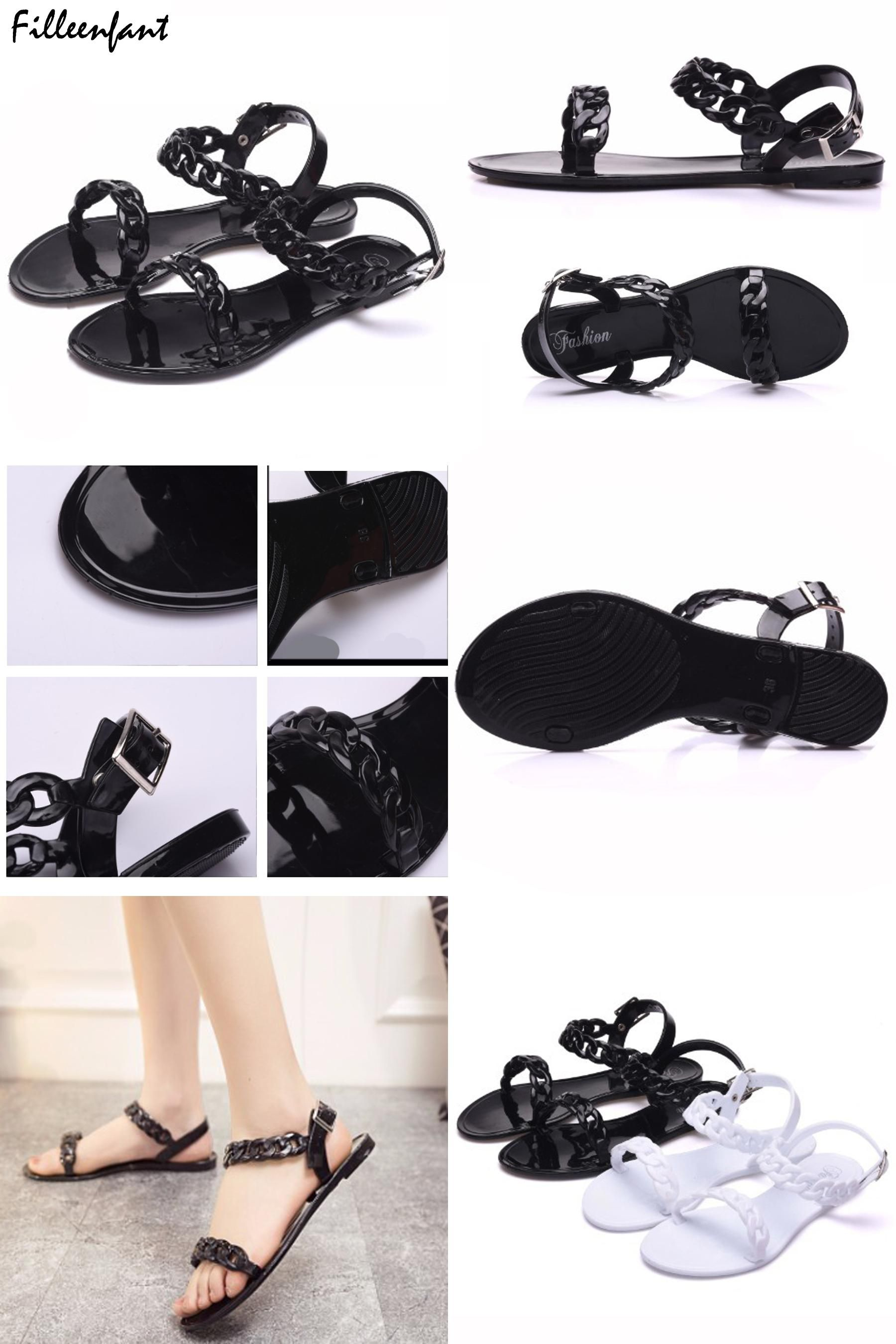 6b4dae571  Visit to Buy  Summer Flip Flops Plastic Chain Sandals Female Adult Jelly  Shoes Woman