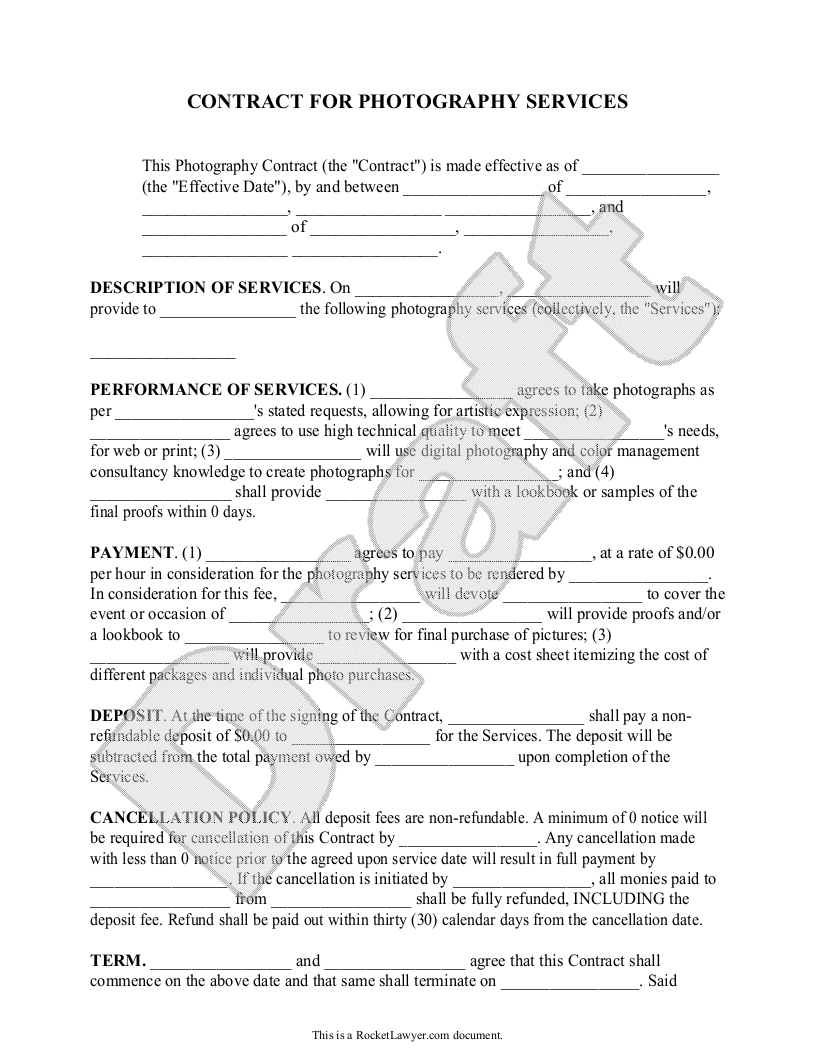 Photography Contract Template for Weddings, Portraits, Events ...