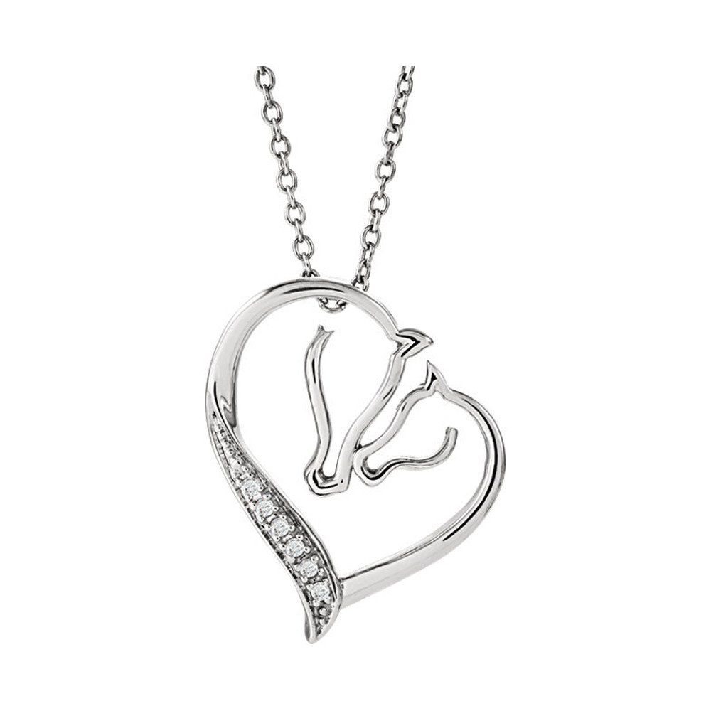 Diamond accent horse pendant with chain in sterling silver horse