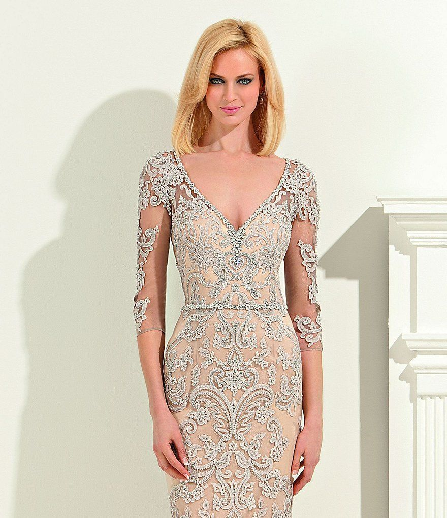 Lasting moments beaded lace gown beaded lace dillards and gowns