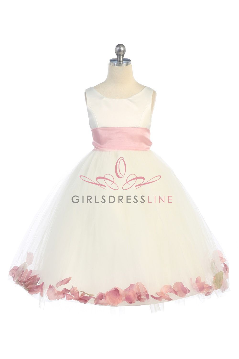 ab7bd8645b33 Ivory/Dusty Rose Satin & Tulle Flower Girl Dress with Petals & Sash  B1170-ID $40.95 on www.GirlsDressLine.Com