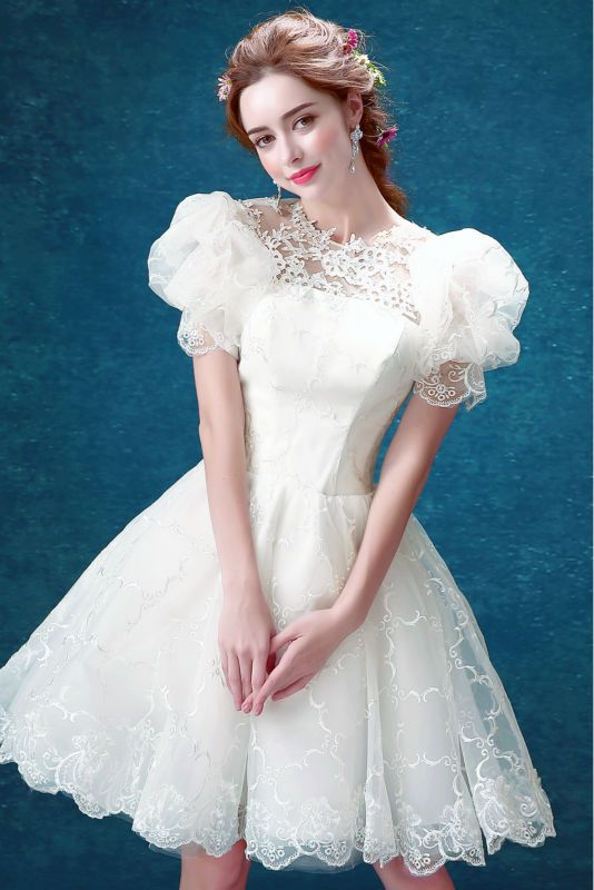 Mode schöne blume spitze blackless weiß kurze dress (1566 tian ...
