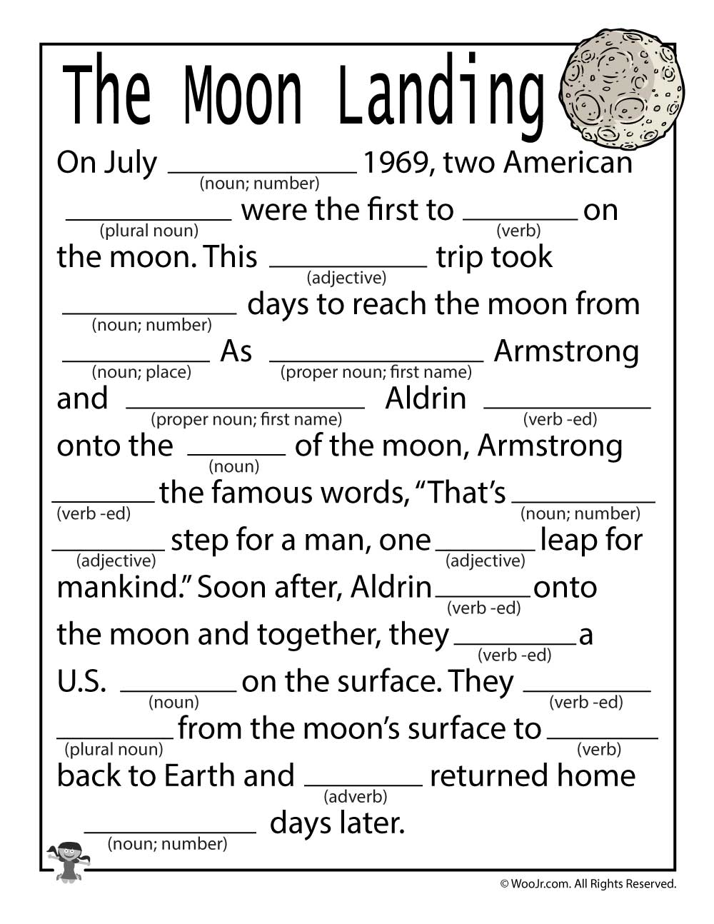 The Moon Landing Mad Libs For Kids Videogameorganizationideas Space Lesson Plans Moon Lessons Space Lessons [ 1294 x 1000 Pixel ]