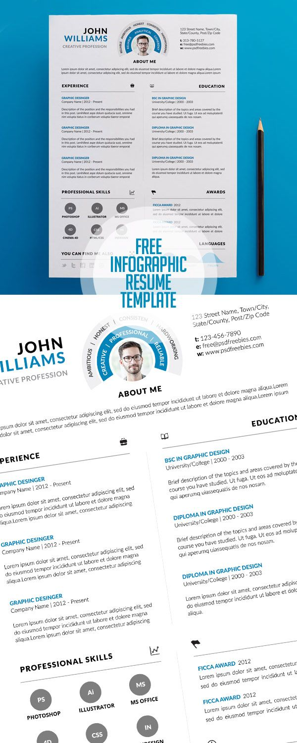 Free Clean And Infographic Resume Psd Template Print Ready