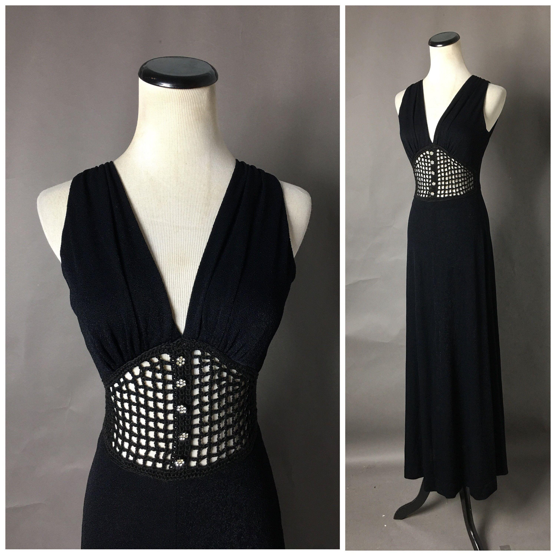 Vintage 70s Dress 1970s Dress Goth Dress Cocktail Dress Maxi Dress Hippie Dress Boho Dress Vampy Maxi Dress Cocktail Vintage Dress 70s Goth Dress [ 3000 x 3000 Pixel ]