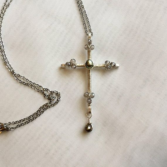Silver pearl cross cross necklace wire wrapped beaded cross pendant this stunning cross pendant is highlighted by a single grey freshwater pearl focal bead surrounded by aloadofball Gallery