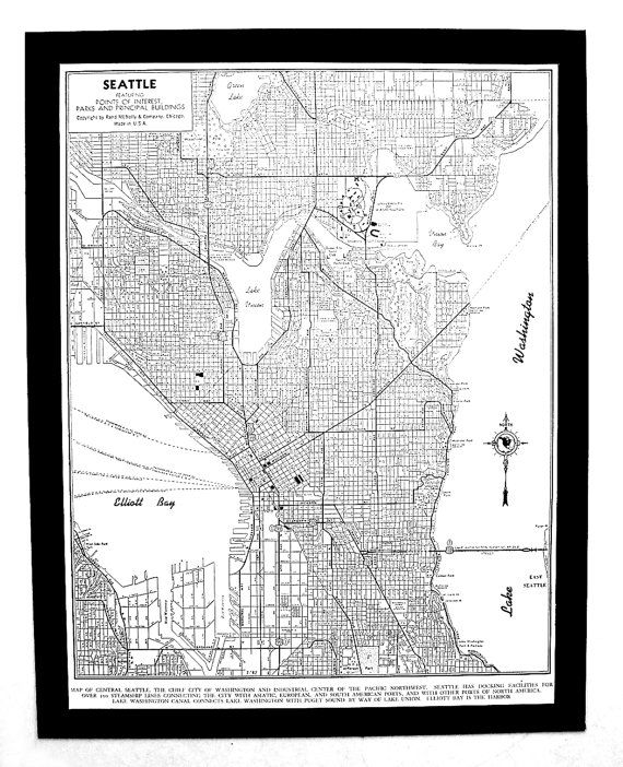 1944 Seattle Street Map Buy maps Seattle and Lake union