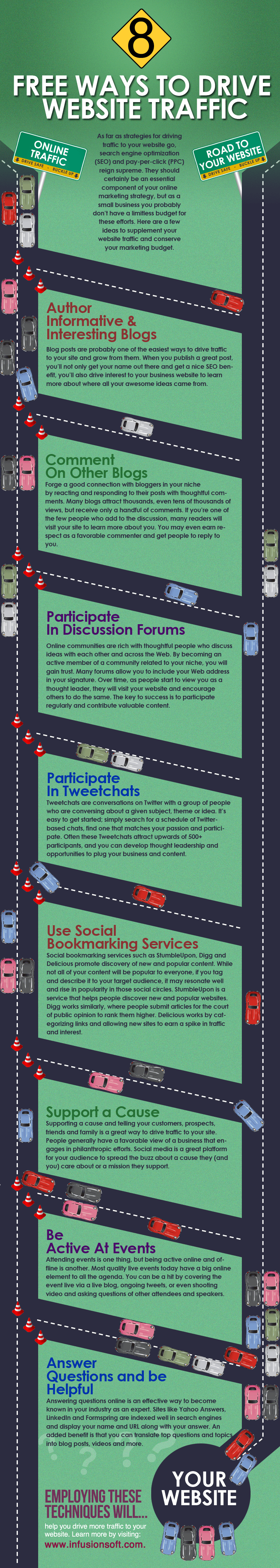8 free ways to drive website traffic #infographic