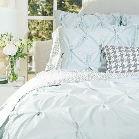 Porcelain Green Valencia Pintuck Sham Standard Pair Green Duvet Covers Luxury Sheets Cool Beds