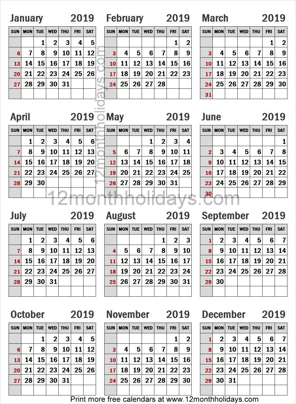 free a4 calendar 2019 template