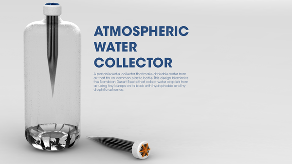 A Portable Water Collector That Obtains Drinkable Water From Air And Fits On Common Plastic Bottles Atmospheric Water Generator Water Generator Water From Air
