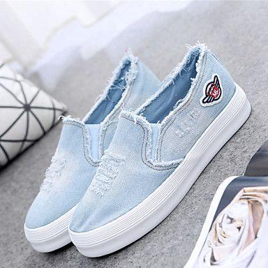074198e012 Zapatos de mujer - Tacón Plano - Creepers   Punta Redonda - Sneakers a la  Moda   Mocasines - Oficina y Trabajo   Casual - Tela - Azul 2016 – €17.63